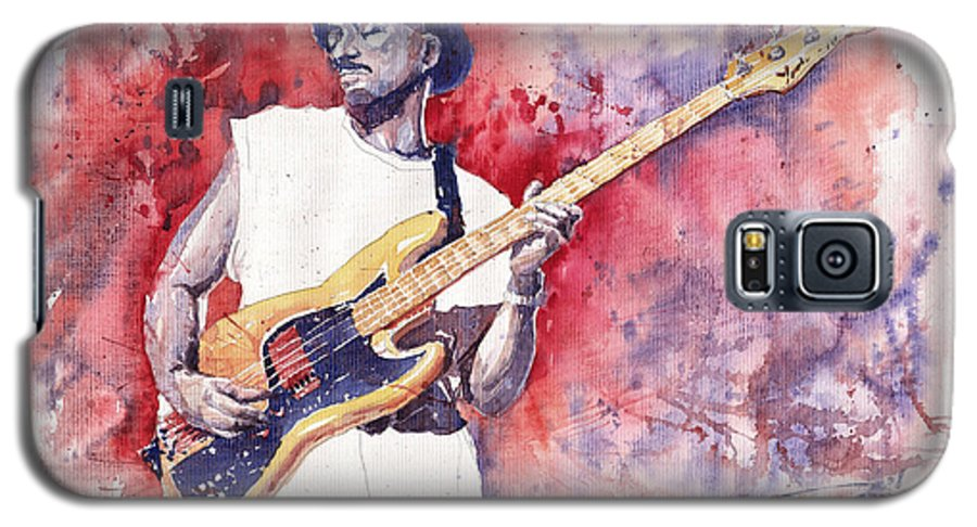 Jazz Galaxy S5 Case featuring the painting Jazz Guitarist Marcus Miller Red by Yuriy Shevchuk