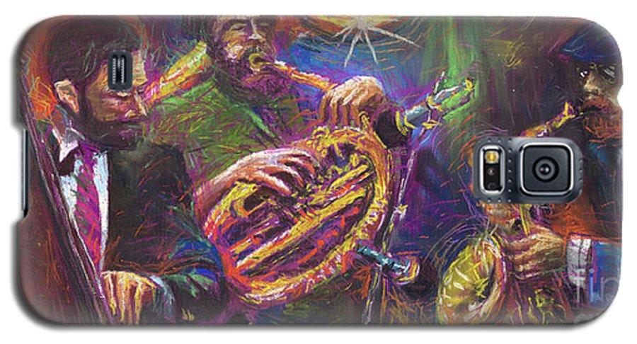 Jazz Galaxy S5 Case featuring the painting Jazz Jazzband Trio by Yuriy Shevchuk