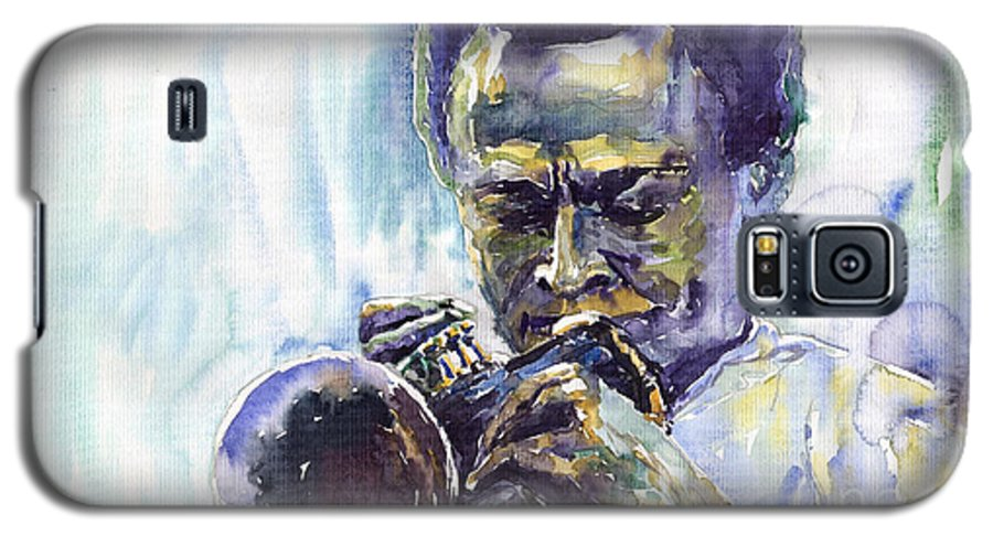 Jazz Miles Davis Music Musiciant Trumpeter Portret Galaxy S5 Case featuring the painting Jazz Miles Davis 10 by Yuriy Shevchuk