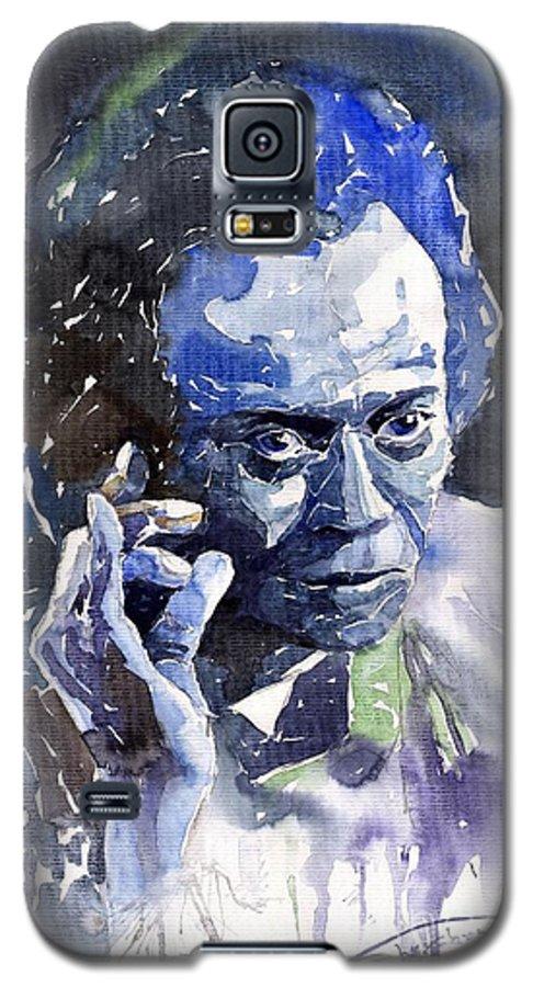 Jazz Galaxy S5 Case featuring the painting Jazz Miles Davis 11 Blue by Yuriy Shevchuk