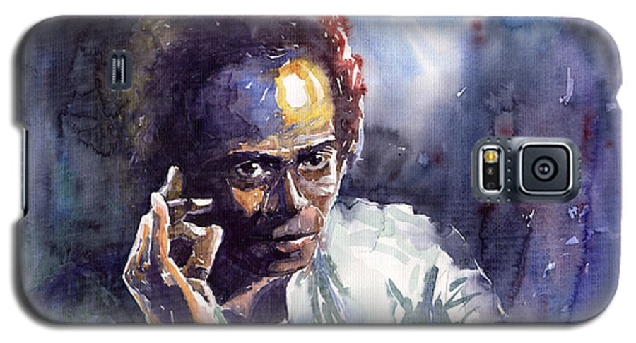 Jazz Watercolor Watercolour Miles Davis Portret Galaxy S5 Case featuring the painting Jazz Miles Davis 11 by Yuriy Shevchuk