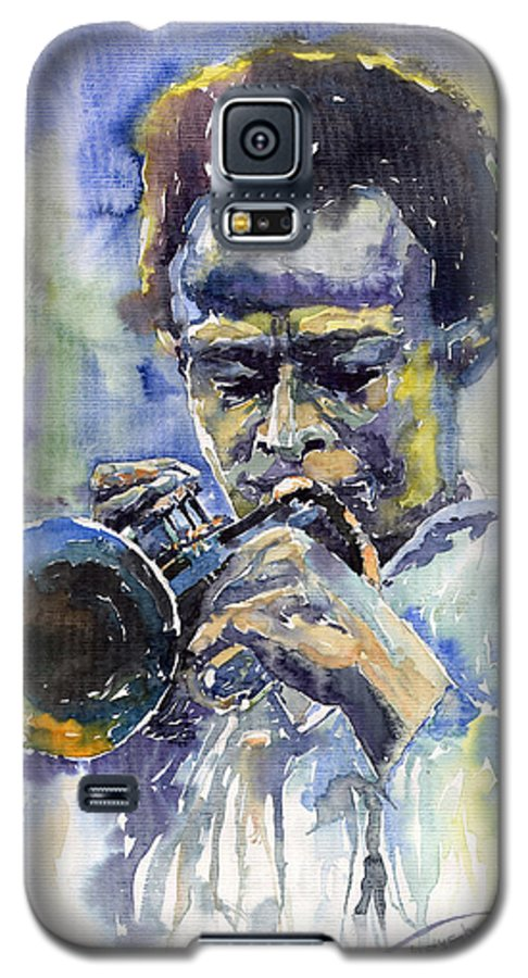 Jazz Galaxy S5 Case featuring the painting Jazz Miles Davis 12 by Yuriy Shevchuk