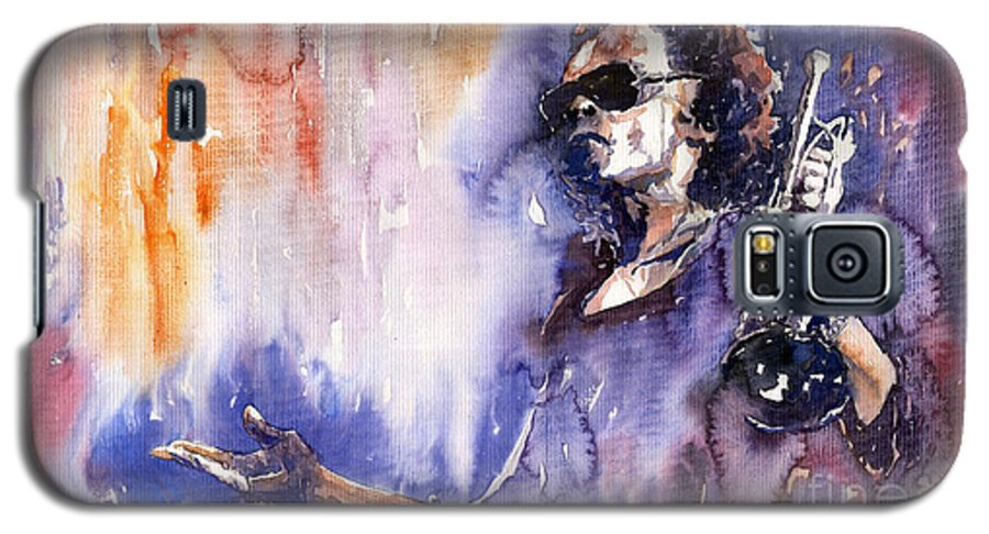 Jazz Galaxy S5 Case featuring the painting Jazz Miles Davis 14 by Yuriy Shevchuk