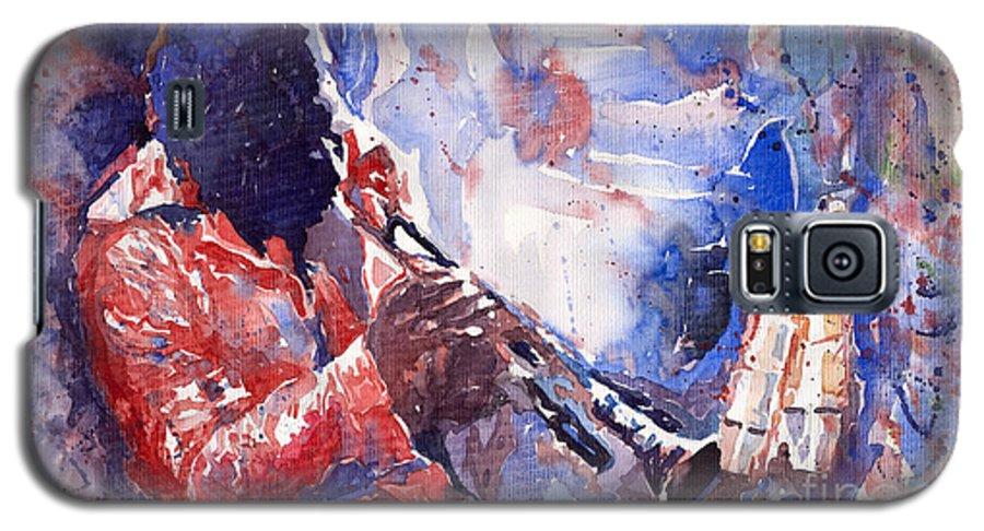 Jazz Galaxy S5 Case featuring the painting Jazz Miles Davis 15 by Yuriy Shevchuk