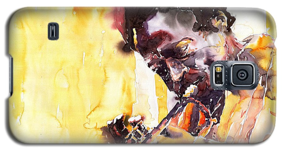 Jazz Music Watercolor Watercolour Miles Davis Trumpeter Portret Galaxy S5 Case featuring the painting Jazz Miles Davis 6 by Yuriy Shevchuk