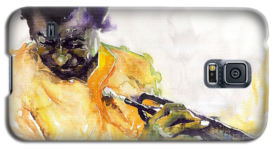 Davis Figurativ Jazz Miles Music Portret Trumpeter Watercolor Watercolour Galaxy S5 Case featuring the painting Jazz Miles Davis 7 by Yuriy Shevchuk