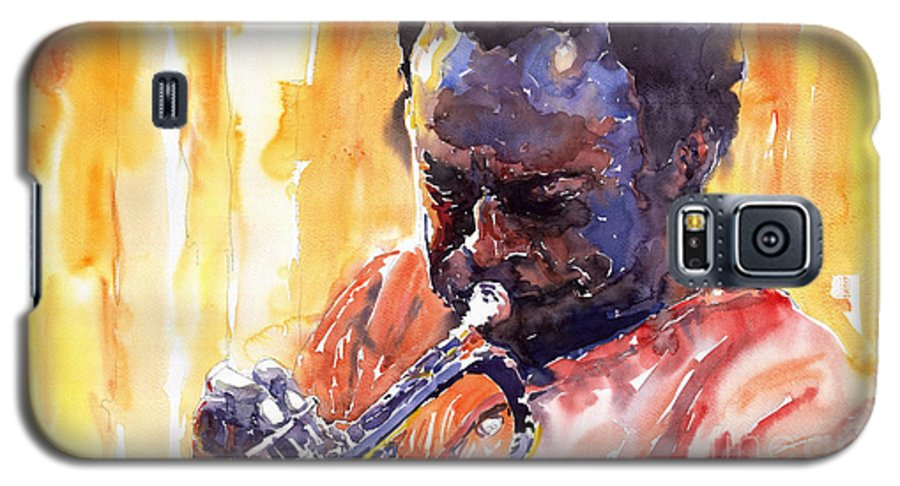 Jazz Miles Davis Music Watercolor Watercolour Figurativ Portret Trumpeter Galaxy S5 Case featuring the painting Jazz Miles Davis 8 by Yuriy Shevchuk