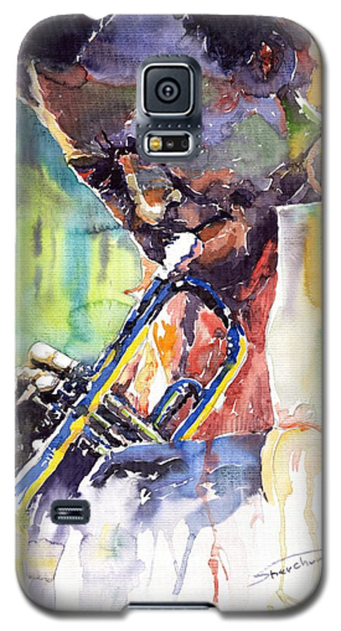 Jazz Miles Davis Music Musiciant Trumpeter Portret Galaxy S5 Case featuring the painting Jazz Miles Davis 9 Blue by Yuriy Shevchuk