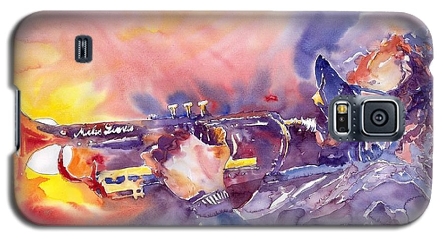 Jazz Watercolor Miles Davis Music Musician Trumpeter Figurative Watercolour Galaxy S5 Case featuring the painting Jazz Miles Davis Electric 1 by Yuriy Shevchuk