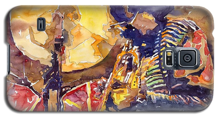 Miles Davis Figurative Jazz Miles Music Musiciant Trumpeter Watercolor Watercolour Galaxy S5 Case featuring the painting Jazz Miles Davis Electric 2 by Yuriy Shevchuk