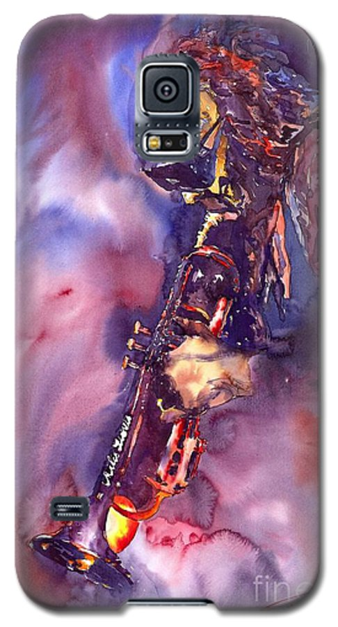 Davis Figurative Jazz Miles Music Musiciant Trumpeter Watercolor Watercolour Galaxy S5 Case featuring the painting Jazz Miles Davis Electric 3 by Yuriy Shevchuk