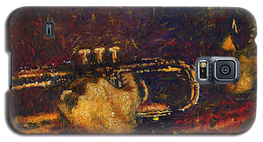 Jazz Galaxy S5 Case featuring the painting Jazz Miles Davis by Yuriy Shevchuk