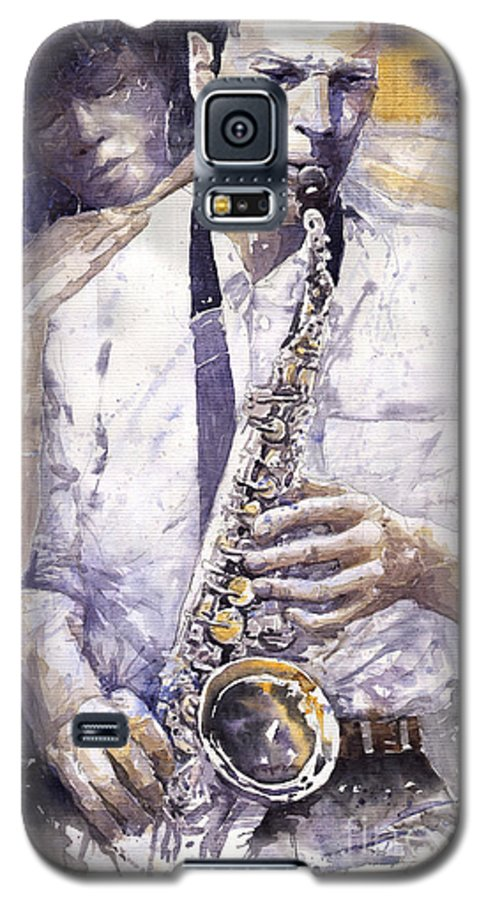 Jazz Galaxy S5 Case featuring the painting Jazz Muza Saxophon by Yuriy Shevchuk