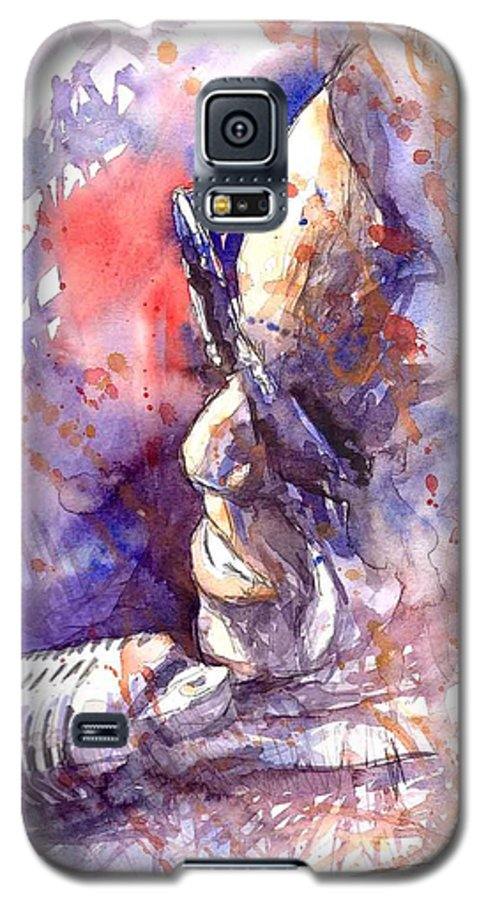 Portret Galaxy S5 Case featuring the painting Jazz Ray Charles by Yuriy Shevchuk