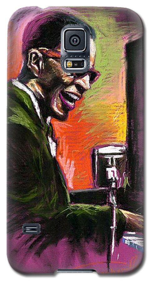Galaxy S5 Case featuring the painting Jazz. Ray Charles.2. by Yuriy Shevchuk