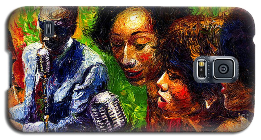 Jazz Galaxy S5 Case featuring the painting Jazz Ray Song by Yuriy Shevchuk