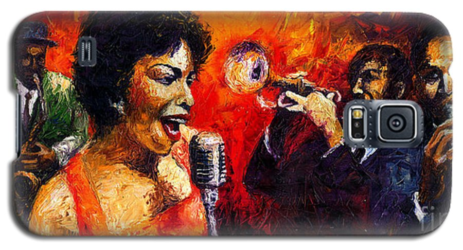 Jazz.song.trumpeter Galaxy S5 Case featuring the painting Jazz Song by Yuriy Shevchuk