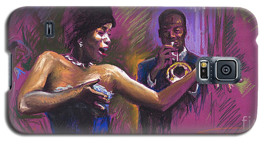 Jazz Galaxy S5 Case featuring the painting Jazz Song.2. by Yuriy Shevchuk