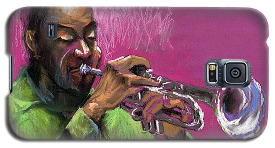 Jazz Galaxy S5 Case featuring the painting Jazz Trumpeter by Yuriy Shevchuk