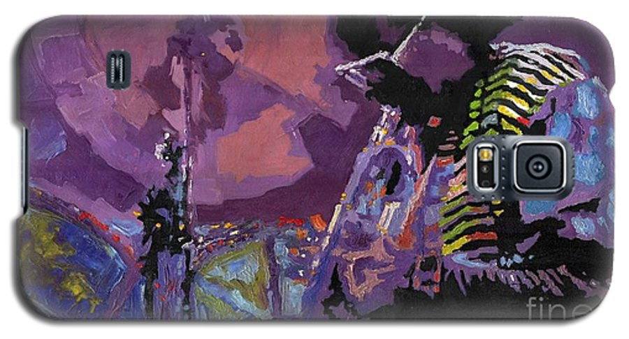 Jazz Galaxy S5 Case featuring the painting Jazz.miles Davis.4. by Yuriy Shevchuk