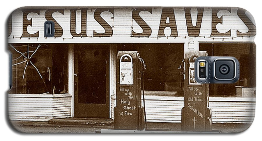 Jesus Galaxy S5 Case featuring the photograph Jesus Saves 1973 by Michael Ziegler