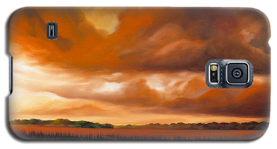 Clouds Galaxy S5 Case featuring the painting Jetties On The Shore by James Christopher Hill