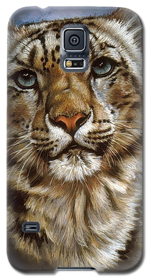 Snow Leopard Galaxy S5 Case featuring the pastel Jewel by Barbara Keith
