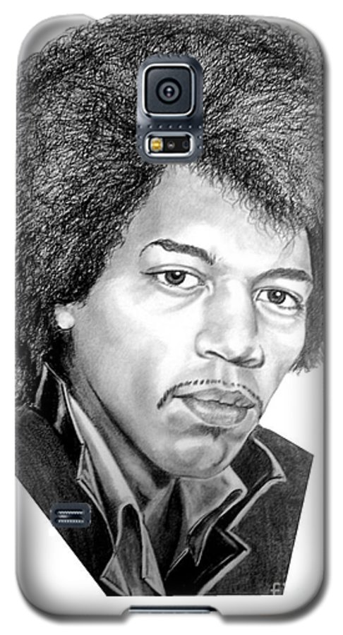 Jimmi Hendrix Galaxy S5 Case featuring the drawing Jimmi Hendrix By Murphy Art. Elliott by Murphy Elliott