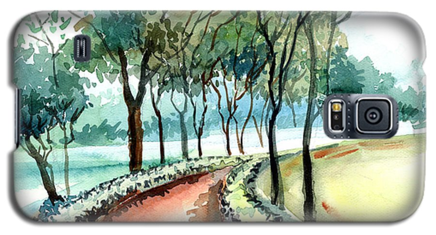 Landscape Galaxy S5 Case featuring the painting Jogging Track by Anil Nene