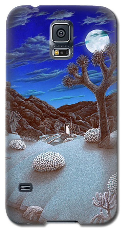 Landscape Galaxy S5 Case featuring the painting Joshua Tree At Night by Snake Jagger