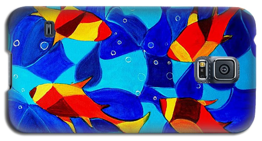 Abstract.acrylic.fish.bubbles.art.painting.modern.contemporary.popblue Red Bubbles Yellow Landscape Galaxy S5 Case featuring the painting Joy Fish Abstract by Manjiri Kanvinde