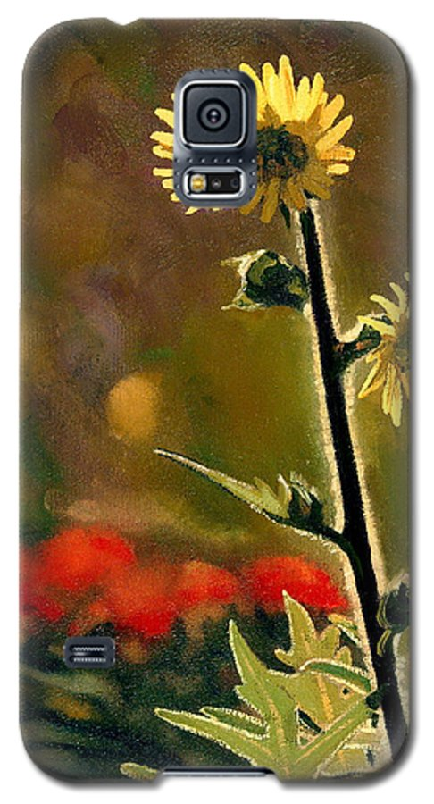 Prairie Flowers Galaxy S5 Case featuring the painting July Afternoon-compass Plant by Bruce Morrison