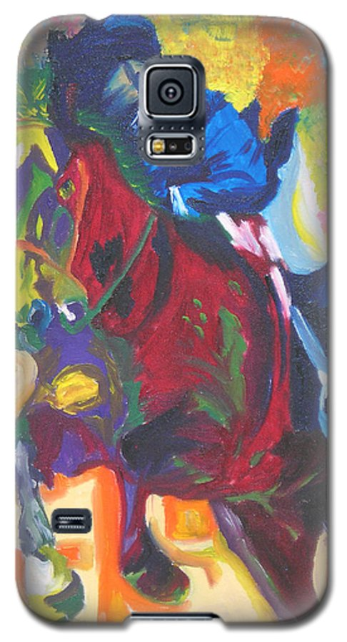 Horse Jumping Galaxy S5 Case featuring the painting Jump Off by Michael Lee