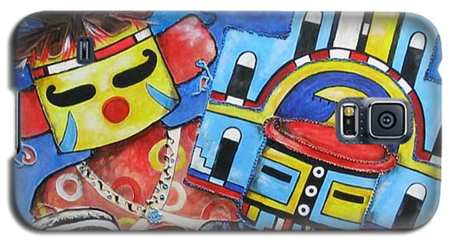 Native Galaxy S5 Case featuring the painting Kachina Knights by Elaine Booth-Kallweit