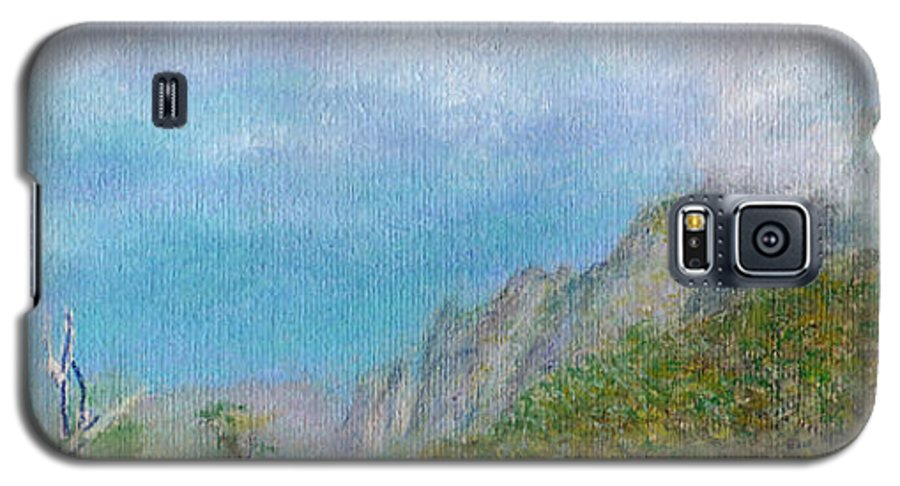 Rainbow Colors Pastel Galaxy S5 Case featuring the painting Kalalau Mist by Kenneth Grzesik
