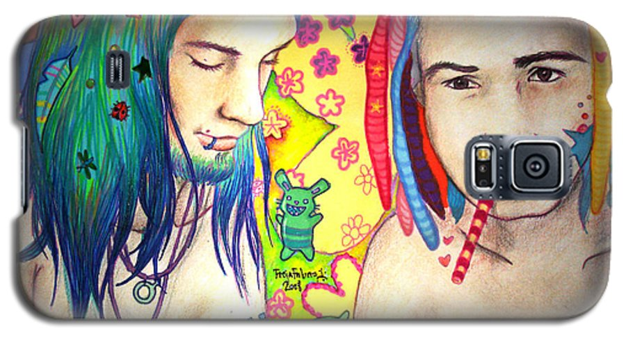 Colours Galaxy S5 Case featuring the drawing Kamil And Louis by Freja Friborg