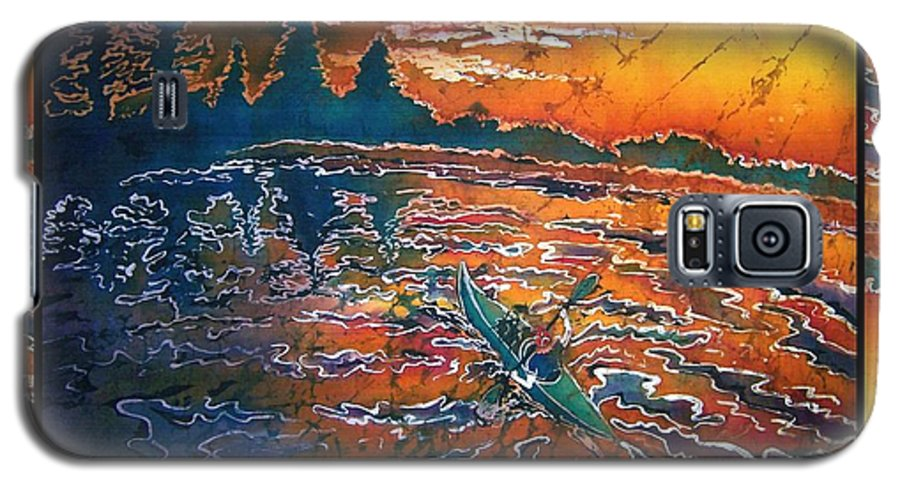 Kayak Galaxy S5 Case featuring the painting Kayaking Serenity - Bordered by Sue Duda