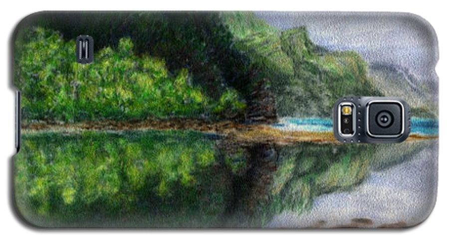 Rainbow Colors Pastel Galaxy S5 Case featuring the painting Ke'e by Kenneth Grzesik