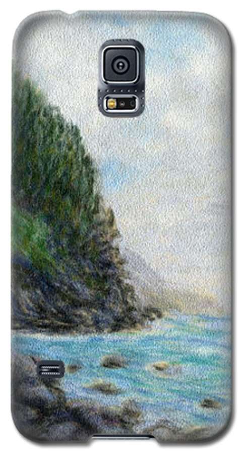 Rainbow Colors Pastel Galaxy S5 Case featuring the painting Ke'e Rocks by Kenneth Grzesik