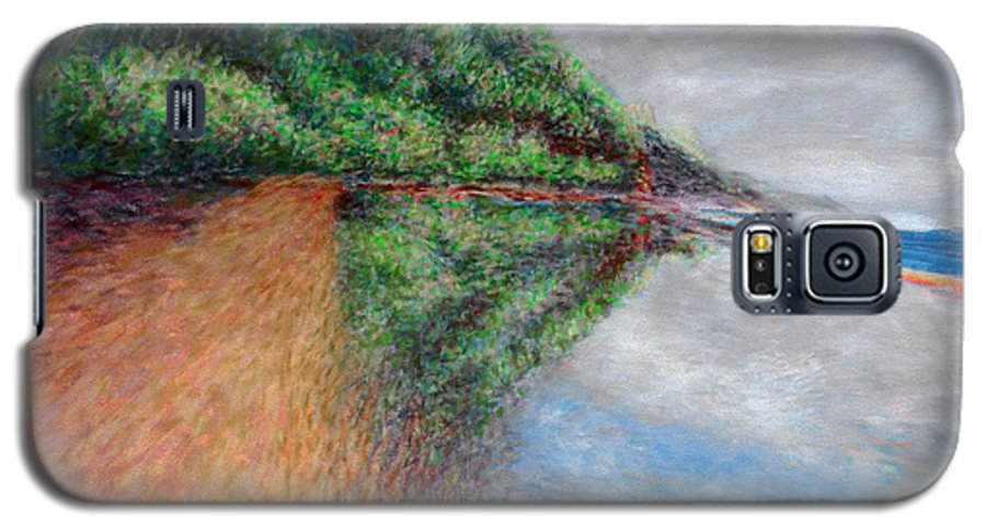 Rainbow Colors Pastel Galaxy S5 Case featuring the painting Ke'e Tondo by Kenneth Grzesik