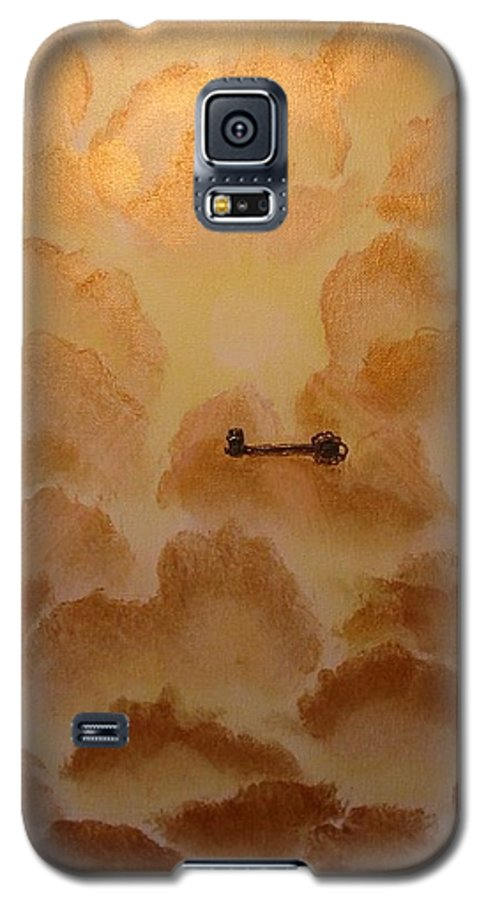 Gold Galaxy S5 Case featuring the painting Keys To The Kingdom by Laurie Kidd