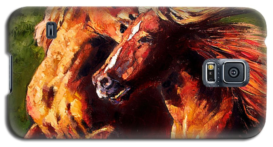 Horses Running Galaxy S5 Case featuring the painting Kiss On The Run by John Lautermilch