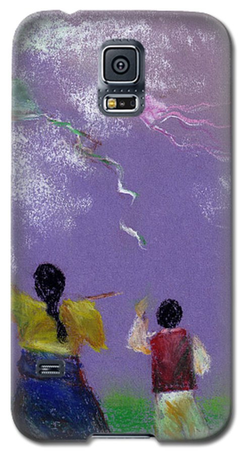 Flying Kite In A Sunny Day-oil Pastel Galaxy S5 Case featuring the drawing Kite Flying by Mui-Joo Wee