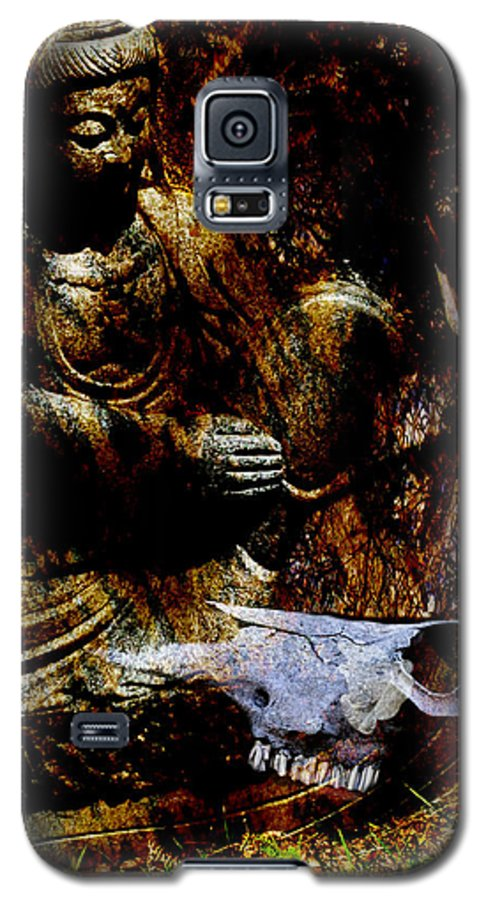 Kwan Yin Galaxy S5 Case featuring the mixed media Kwan Yin Meditates by Ann Tracy
