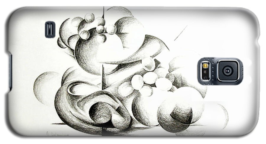 Abstract Galaxy S5 Case featuring the drawing La Guerre Des Bulles by Muriel Dolemieux