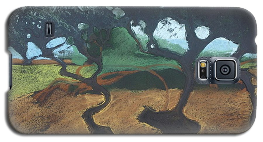Contemporary Tree Landscape Galaxy S5 Case featuring the drawing La Jolla I by Leah Tomaino