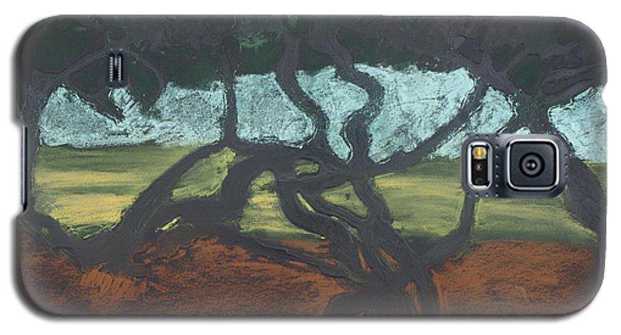 Contemporary Tree Landscape Galaxy S5 Case featuring the mixed media La Jolla II by Leah Tomaino