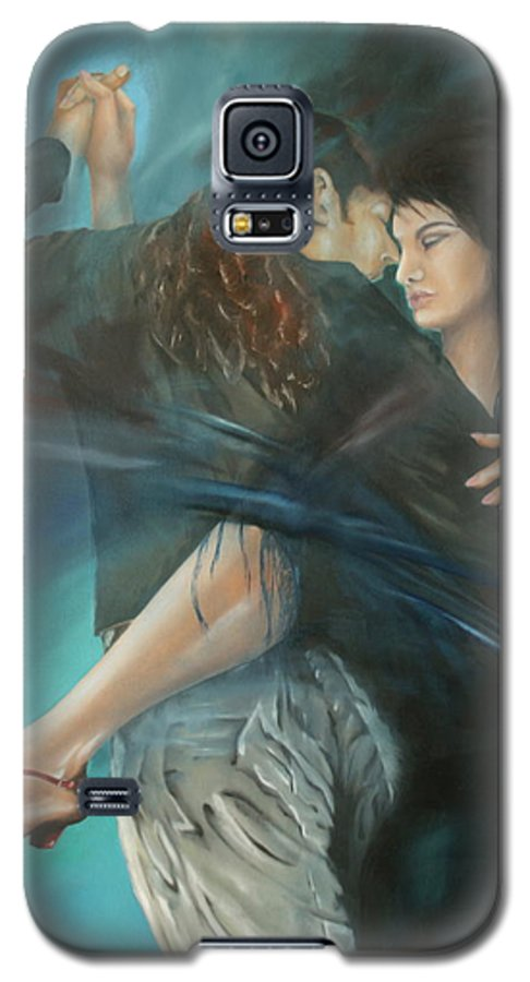 Tango Galaxy S5 Case featuring the painting La Mujer Argentina by Harri Spietz