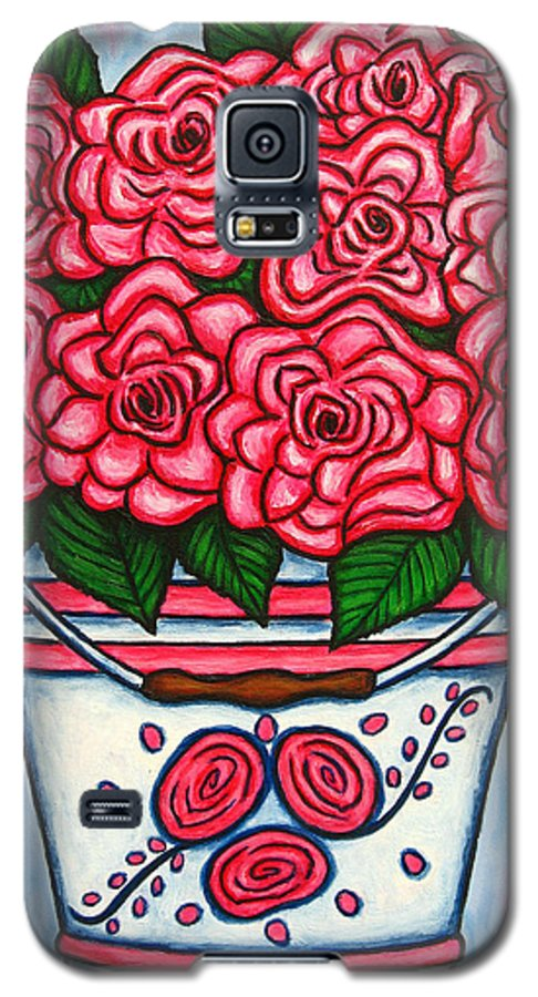 Rose Galaxy S5 Case featuring the painting La Vie En Rose by Lisa Lorenz