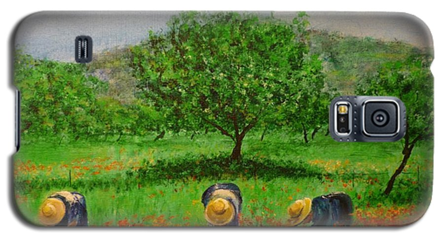 Club Diario De Ibiza Galaxy S5 Case featuring the painting Ladies In Poppy Fields Ibiza by Lizzy Forrester